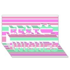 Pink Green Stripes Best Wish 3d Greeting Card (8x4)