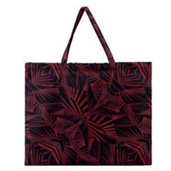 Sharp Tribal Pattern Zipper Large Tote Bag