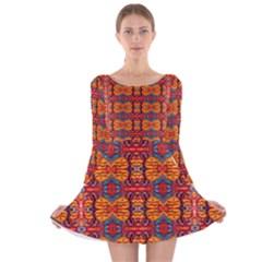 Hamburger Beach Long Sleeve Velvet Skater Dress