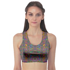Peacock Eyes In A Contemplative Style Sports Bra