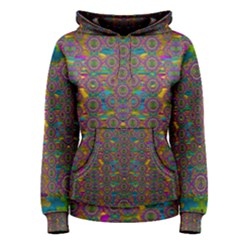 Peacock Eyes In A Contemplative Style Women s Pullover Hoodie