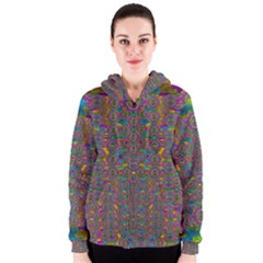 Peacock Eyes In A Contemplative Style Women s Zipper Hoodie