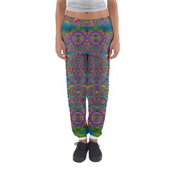 Peacock Eyes In A Contemplative Style Women s Jogger Sweatpants
