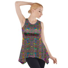 Peacock Eyes In A Contemplative Style Side Drop Tank Tunic