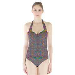 Peacock Eyes In A Contemplative Style Women s Halter One Piece Swimsuit