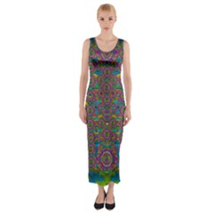 Peacock Eyes In A Contemplative Style Fitted Maxi Dress