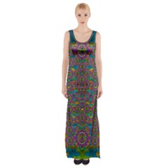 Peacock Eyes In A Contemplative Style Maxi Thigh Split Dress