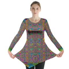 Peacock Eyes In A Contemplative Style Long Sleeve Tunic