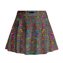 Peacock Eyes In A Contemplative Style Mini Flare Skirt