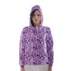 Purple Paisley Doodle Hooded Wind Breaker (Women)