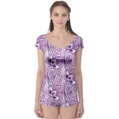 Purple Paisley Doodle Boyleg Leotard (Ladies)