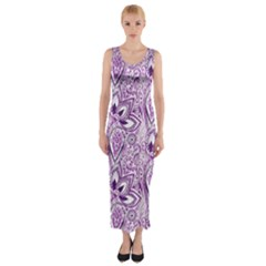 Purple Paisley Doodle Fitted Maxi Dress