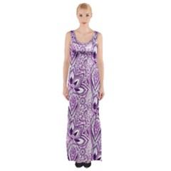 Purple Paisley Doodle Maxi Thigh Split Dress