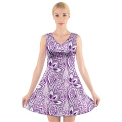 Purple Paisley Doodle V Neck Sleeveless Skater Dress
