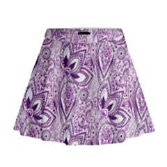 Purple Paisley Doodle Mini Flare Skirt