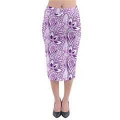 Purple Paisley Doodle Midi Pencil Skirt