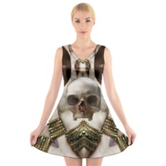 Skull Magic V-Neck Sleeveless Skater Dress