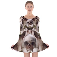 Skull Magic Long Sleeve Velvet Skater Dress