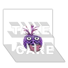 Funny Fruit Face Head Character TAKE CARE 3D Greeting Card (7x5)