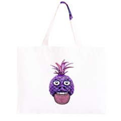 Funny Fruit Face Head Character Zipper Large Tote Bag