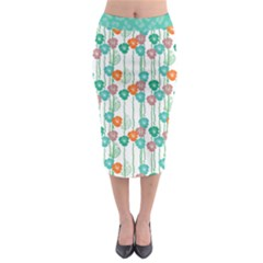 Flower Midi Pencil Skirt