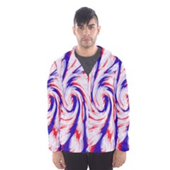 Groovy Red White Blue Swirl Hooded Wind Breaker (Men)