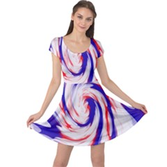 Groovy Red White Blue Swirl Cap Sleeve Dresses