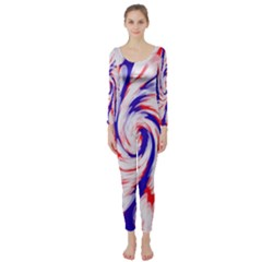 Groovy Red White Blue Swirl Long Sleeve Catsuit