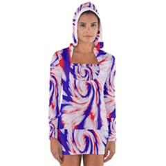 Groovy Red White Blue Swirl Women s Long Sleeve Hooded T Shirt