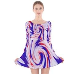 Groovy Red White Blue Swirl Long Sleeve Velvet Skater Dress