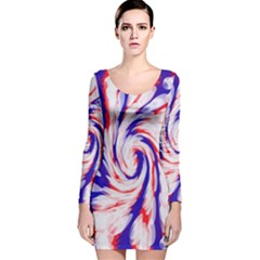 Groovy Red White Blue Swirl Long Sleeve Velvet Bodycon Dress