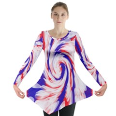 Groovy Red White Blue Swirl Long Sleeve Tunic