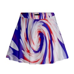 Groovy Red White Blue Swirl Mini Flare Skirt
