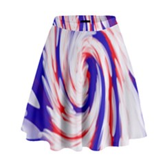 Groovy Red White Blue Swirl High Waist Skirt