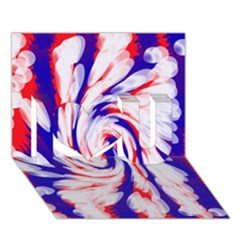 Groovy Red White Blue Swirl I Love You 3d Greeting Card (7x5)