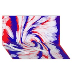 Groovy Red White Blue Swirl Twin Heart Bottom 3D Greeting Card (8x4)