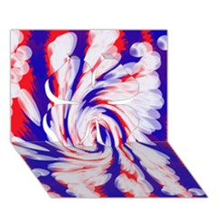 Groovy Red White Blue Swirl Clover 3d Greeting Card (7x5)