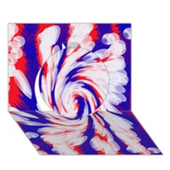 Groovy Red White Blue Swirl Circle 3D Greeting Card (7x5)