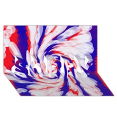 Groovy Red White Blue Swirl Sorry 3d Greeting Card (8x4)