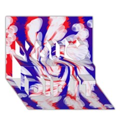Groovy Red White Blue Swirl You Did It 3D Greeting Card (7x5)