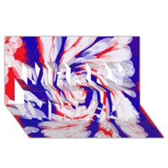 Groovy Red White Blue Swirl Merry Xmas 3D Greeting Card (8x4)