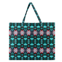 Fancy Teal Red Pattern Zipper Large Tote Bag