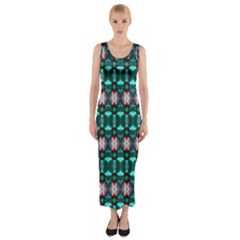 Fancy Teal Red Pattern Fitted Maxi Dress