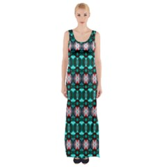Fancy Teal Red Pattern Maxi Thigh Split Dress