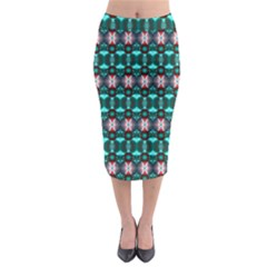Fancy Teal Red Pattern Midi Pencil Skirt