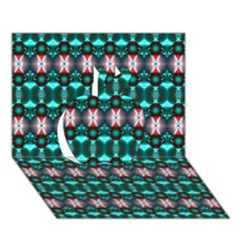 Fancy Teal Red Pattern Apple 3d Greeting Card (7x5)