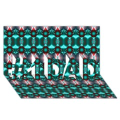 Fancy Teal Red Pattern #1 DAD 3D Greeting Card (8x4)