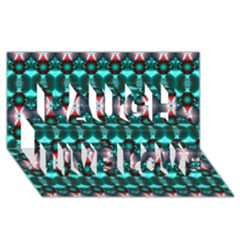 Fancy Teal Red Pattern Laugh Live Love 3D Greeting Card (8x4)