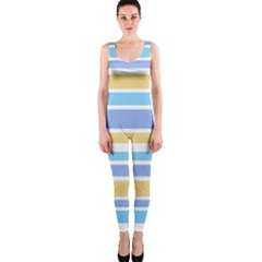 Blue Yellow Stripes OnePiece Catsuit