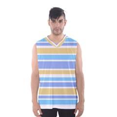 Blue Yellow Stripes Men s Basketball Tank Top